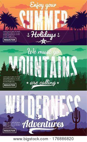 Vector Summer, Mountains And Desert Adventures Banners