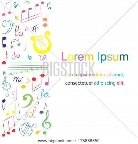 Colorful Hand Drawn Set of Music Symbols. Doodle Treble Clef Bass Clef Notes and Lyre. Template for Fliers Banners Badges Stickers and Advertising Actions.. Vector Illustration.