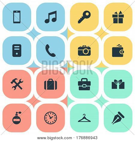 Vector Illustration Set Of Simple  Icons. Elements System Unit, Hanger, Repair And Other Synonyms Briefcase, Watch And Gratuity.