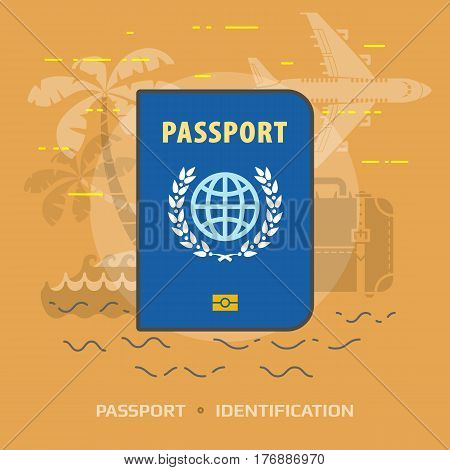 Flat illustration of passport against orange background. Flat design of international identification document. Vector image about travel check-in tourism passport control vacation citizenship