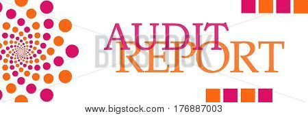 Audit report text written over pink orange background.