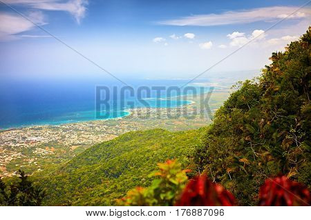 fascinating view on Puerto Plata city from the top of Pico Isabel de Torres poster