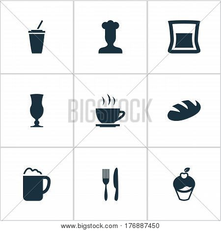 Vector Illustration Set Of Simple Restaurant Icons. Elements Coffee Late, Muffin, Tea And Other Synonyms Toast, Late And Bakery.