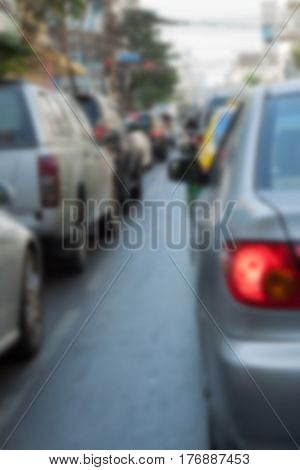 Blur background of many car with the traffic jam in bangkok capital city thailand