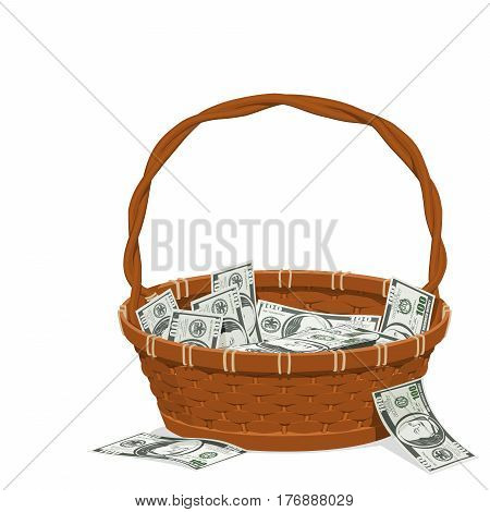 So many dollar banknotes in the basket
