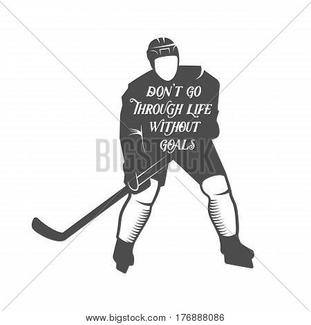 Hockey motivational quotes. Winter sports.Typographic Art for Poster Print Greeting Card T shirt apparel design, hand crafted illustration. Hockey is my therapy because I can hit people