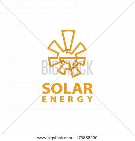 Abstract monoline sun logo. Solar energy symbol for the brand. Eco energy emblem.