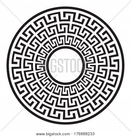 Black and white meander shape. Meander pattern in the Greek style.