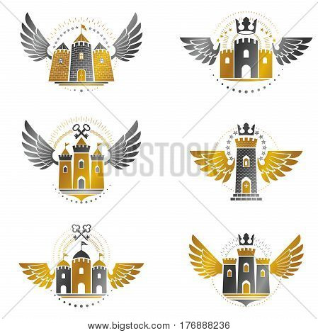 Ancient Citadels Emblems Set. Heraldic Vector Design Elements Collection. Retro Style Label, Heraldr