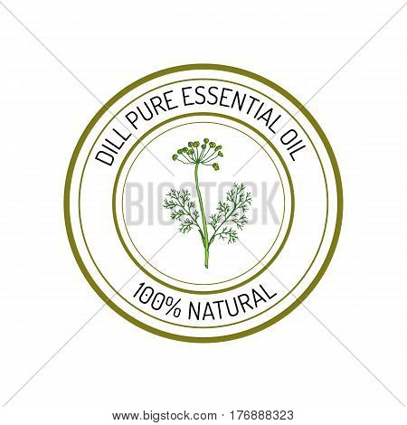 Dill, essential oil label, aromatic plant Vector illustration