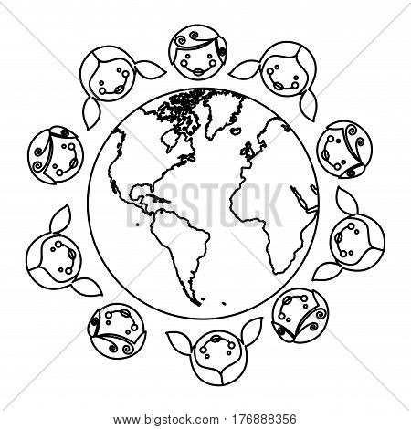figure boys and girls arround the earth planet, vector illustration design