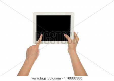 Closeup of woman touching digital tablet display, cutout. Girl holding digital tablet and pointing with index finger on blank screen, white isolated background, copy space