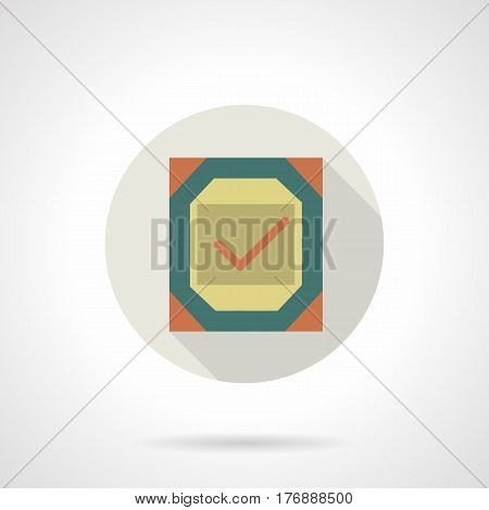 Abstract certificate with red checkmark. Symbol for quality control of different products. Round flat design vector icon.