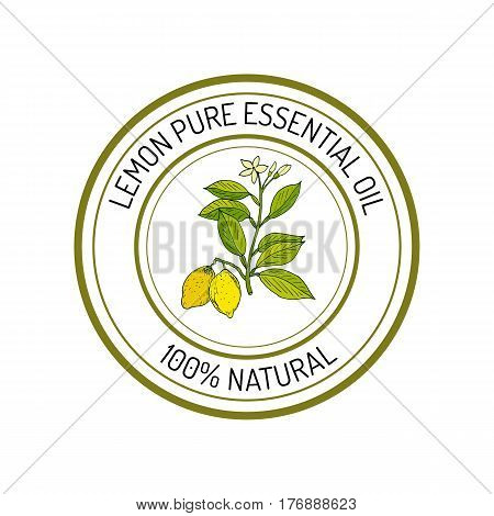Lemon, essential oil label, aromatic plant Vector illustration