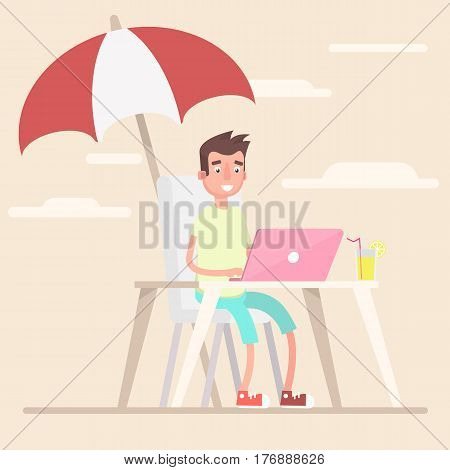 An employee in the summer works under an umbrella on the beach. . Vector illustration in a flat style.
