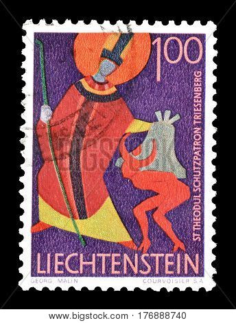 LIECHTENSTEIN - CIRCA 1968 : Cancelled postage stamp printed by Liechtenstein, that shows Saint Theodul.
