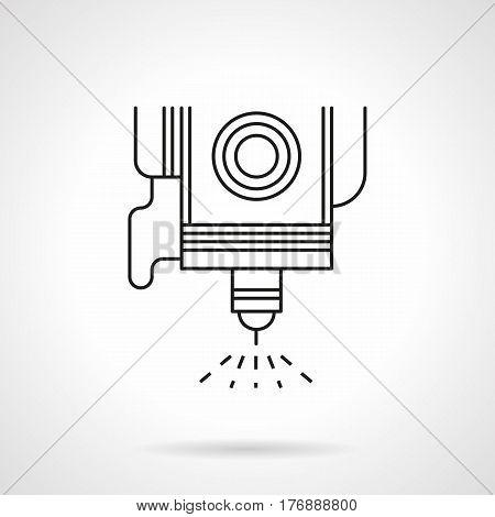 Symbol of spot welding element. High precision CNC laser machine. Flat black line vector icon.