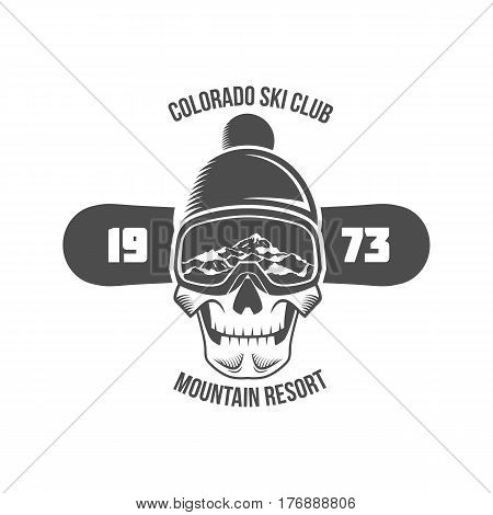 Snowboarding logo and label template. Winter sports.Winter snowboard sport store badge. Emblem and icon Mountain Adventure insignia, symbol and element.  Retro logo design.