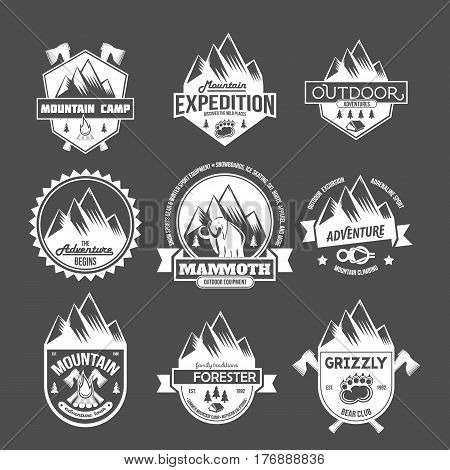 Set of mountain adventure and travel retro emblems. Black and white mountain shields. Camping badges travel logo emblems label graphics badges camping mountain adventure explorer equipment vintage.