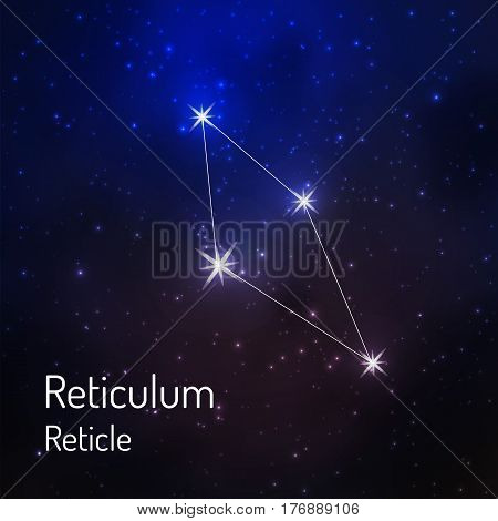 Reticulum reticle constellation in the night starry sky. Vector illustration