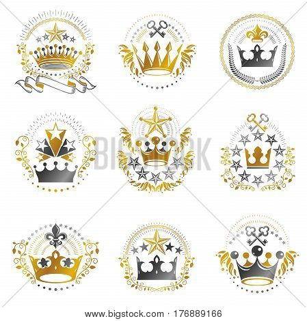 Ancient Crowns Emblems Set. Heraldic Vector Design Elements Collection. Retro Style Label, Heraldry
