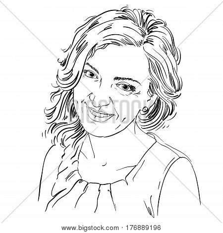 Portrait of delicate good-looking woman black and white vector drawing. Emotional expressions idea image. Caucasian type model posing for portrait.