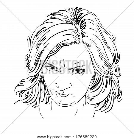 Vector portrait of angry woman with wrinkles on her forehead illustration of good-looking but irate female. Person emotional face expression.