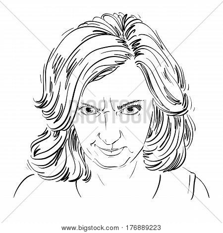Hand-drawn portrait of white-skin arrogant woman with wrinkles on her forehead face emotions theme illustration. Angry lady posing on white background.