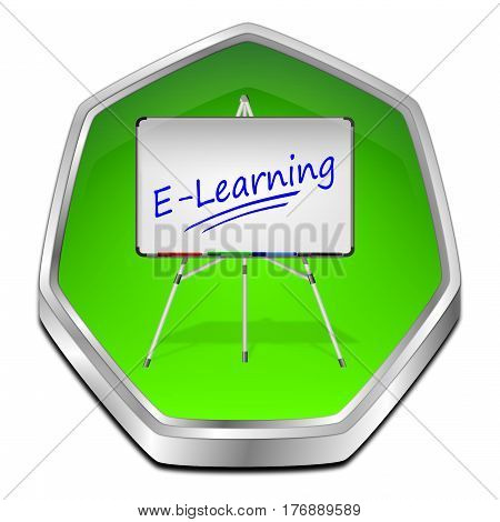 glossy green E-Learning Button - 3D illustration