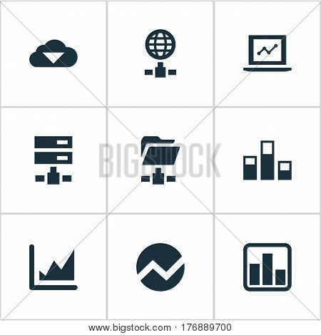 Vector Illustration Set Of Simple Business Icons. Elements Hosting, Increase Graph, Statistics And Other Synonyms Increase, Finance And Economy.
