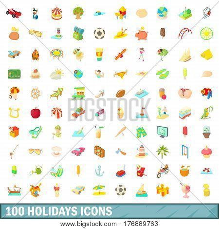 100 holidays icons set in cartoon style for any design vector illustration