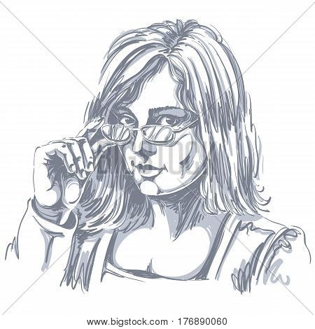 Portrait of delicate good-looking business woman with eyeglasses black and white vector drawing. Emotional expressions idea image. Gorgeous lady with visage features expressing curiosity.