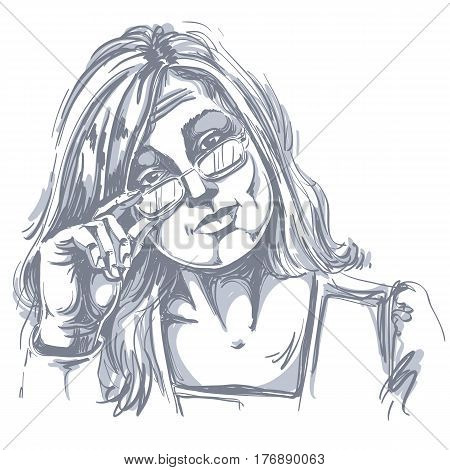 Hand-drawn vector illustration of beautiful business woman in doubt. Monochrome image expressions on face of young distrustful lady with eyeglasses.