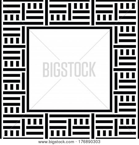Vector geometric frame with place for text. Abstract strong geometrical background. Simple precise geo pattern of straight lines on white background. Black and white digital graphic. Striped texture