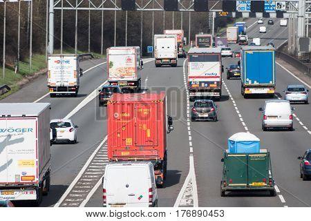 Watford UK - March 13 2017: Traffic on the British motorway M1