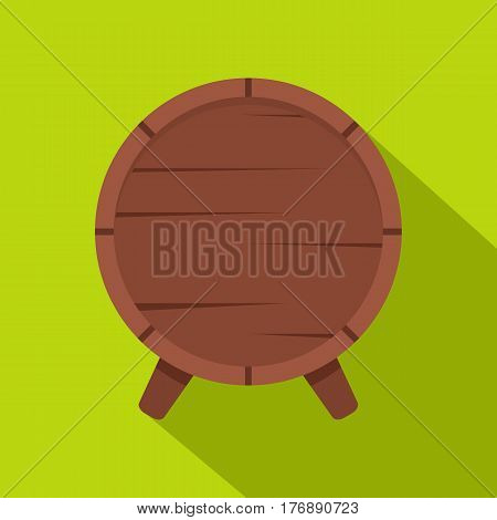 Wooden barrel on legs icon. Flat illustration of wooden barrel on legs vector icon for web isolated on lime background