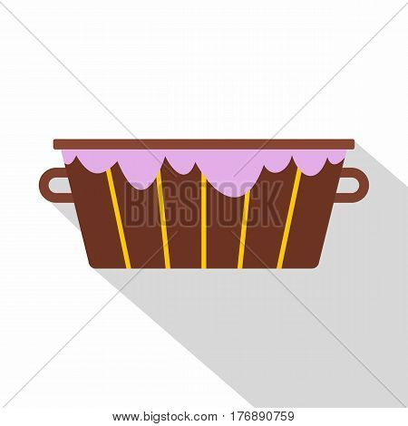 Wooden bucket with foam icon. Flat illustration of wooden bucket with foam vector icon for web isolated on white background