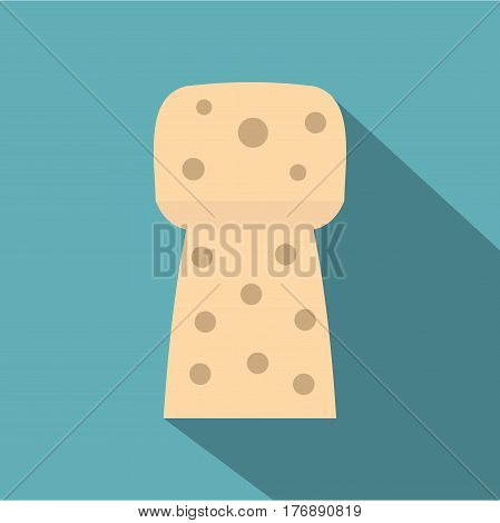 Wine wooden cork icon. Flat illustration of wine wooden cork vector icon for web isolated on baby blue background