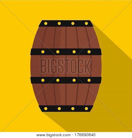 Wine wooden barrel icon. Flat illustration of wine wooden barrel vector icon for web isolated on yellow background