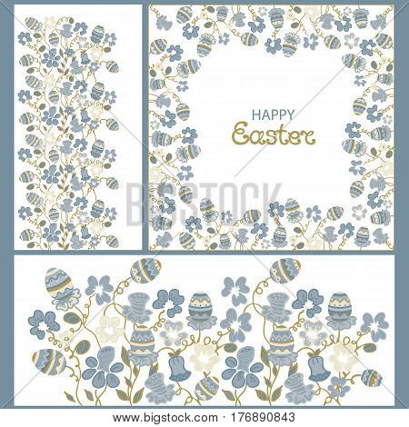 Happy Easter. Frame with flowers and paschals eggs. Floral ornament. Set of elements for design greeting, invitation card, background, poster, wallpaper.