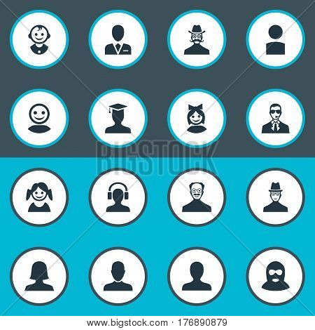 Vector Illustration Set Of Simple Avatar Icons. Elements Postgraduate, Woman User, Workman And Other Synonyms Member, Avatar And Felon.