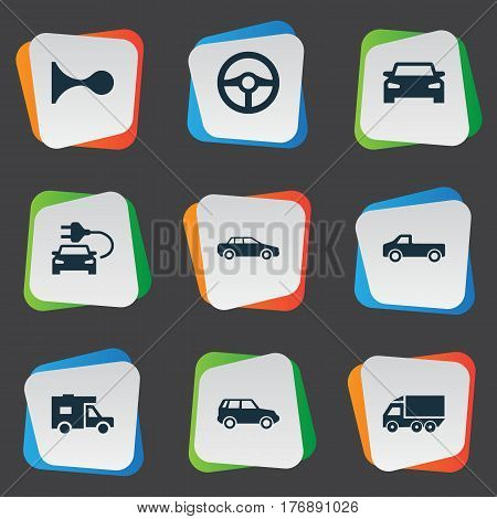 Vector Illustration Set Of Simple Automobile Icons. Elements Klaxon, Automobile, Driving And Other Synonyms Motorcar, Shipping And Beep.