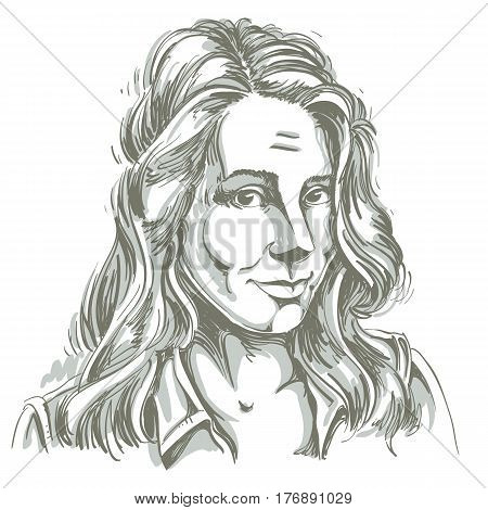 Monochrome vector hand-drawn image naive young woman making innocent face. Black and white illustration of blameworthy girl I am sorry.