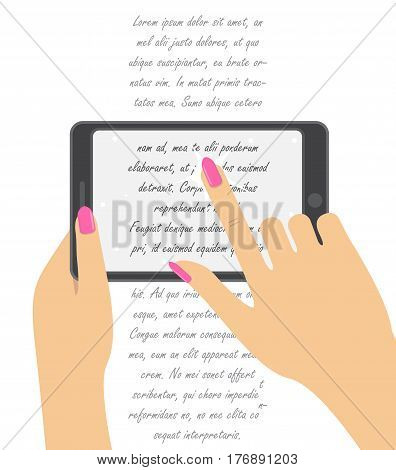 Hand holing smartphone, touching screen. Hand of woman hold tablet or an e-book and pointing on screen