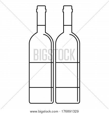 Wine bottles with blank labels icon. Outline illustration of wine bottles with blank labels vector icon for web