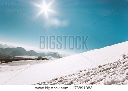 Mountains Landscape glacier climbing Travel aerial view serene scenery wild nature calm atmospheric scene sunny day over 5000m altitude