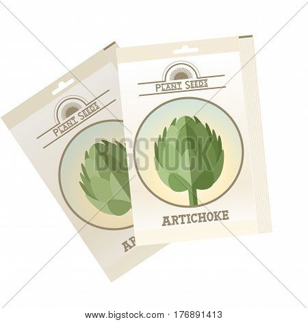 Vector image of the Artichoke seed pack