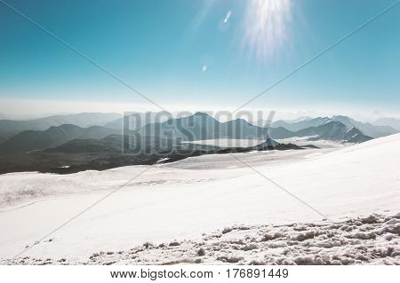 Mountains range Landscape glacier climbing Travel aerial view serene scenery wild nature calm atmospheric scene sunny day over 5000m altitude