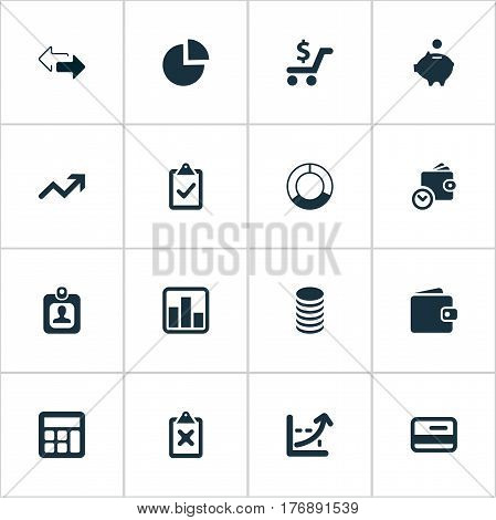 Vector Illustration Set Of Simple Investment Icons. Elements Billfold, Authentication, Spending And Other Synonyms Consumption, Accounting And Spending.