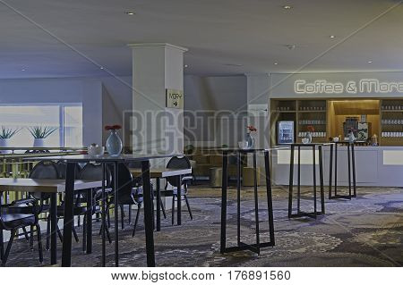 ASSEN, THE NETHERLANDS - MARCH 18, 2017: A interior of a modern coffee bar in restaurant and hotel.